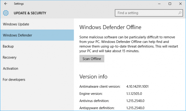 Thaitechnewsblog for Window defender update
