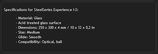 SteelSeries Experience I-2 Gaming Mouse Pad_Specification