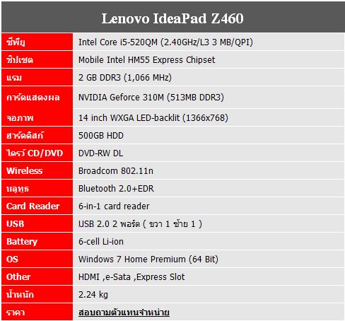 spec Lenoco Z460