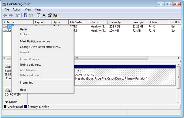 03 แบ่งหรือลดขนาดพาร์ติชั่นใน Windows 7