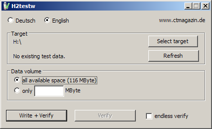 01 H2testw โปรแกรมทดสอบ USB Drive และการ์ดเก็บข้อมูล