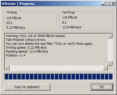 04 H2testw โปรแกรมทดสอบ USB Drive และการ์ดเก็บข้อมูล