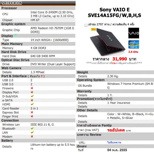 Spec Sony Vaio E 14P