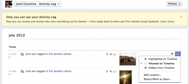 facebook activity log settings1