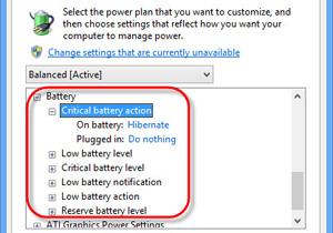 ปรับแต่งค่า Change Critical และ Low Level Battery ใน Windows 8