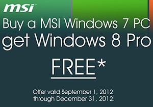 MSI ประกาศผู้ซื้อโน้ตบุ๊ก GE, GT และ GX ที่มี Windows 7 ภายในปีนี้ อัพเกรด Windows 8 ฟรี !