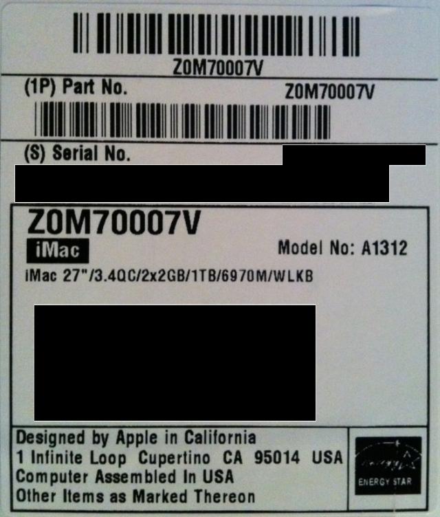 imac label