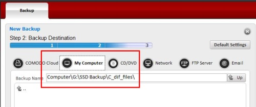 Comodo Backup 91