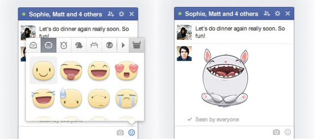 Facebook WEB messages stickers