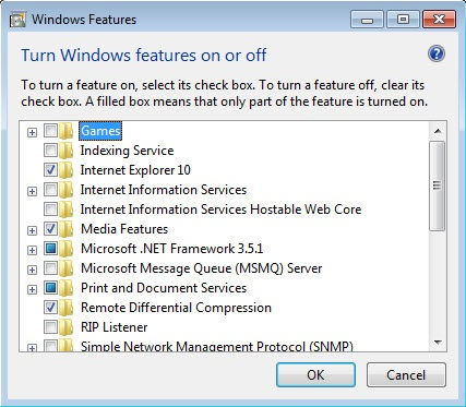 Windows feature on off