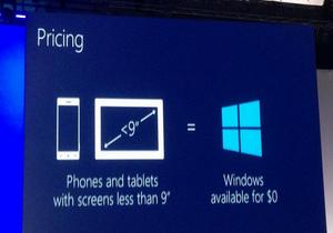 Microsoft จะให้ระบบปฏิบัติการ Windows ฟรีๆ สำหรับอุปกรณ์ที่มีหน้าจอเล็กกว่า 9 นิ้ว