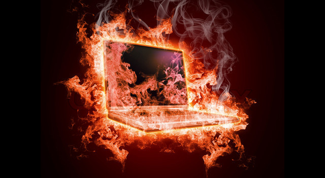 Laptop in open fire