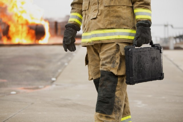 Fireman in the Foreground of a Fire