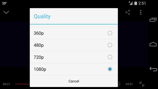 แอพ Youtube ของ Android สามารถเลือกชมที่ความละเอียด 1080p