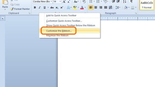 ms word create ribbon 1