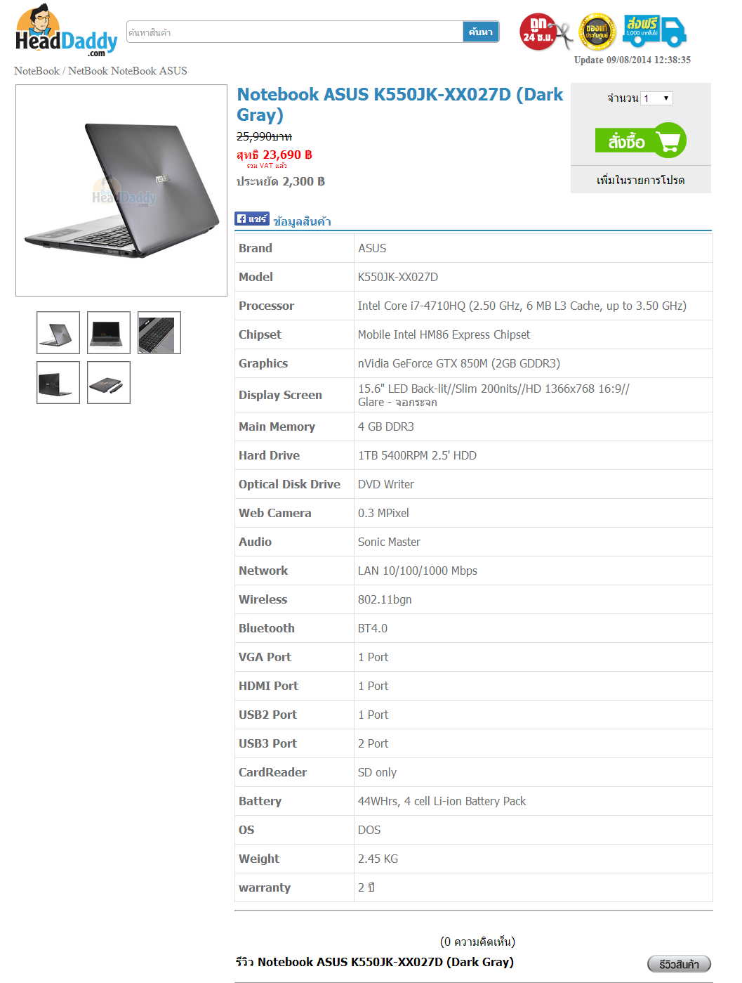 Notebook ASUS K550JK XX027D  Dark Gray