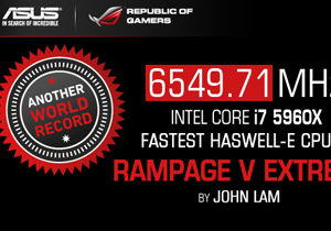 ASUS ทำลายสถิติความเร็ว CPU ใหม่ที่ 6549.71 Mhz บนมาเธอร์บอร์ด Rampage V Extreme