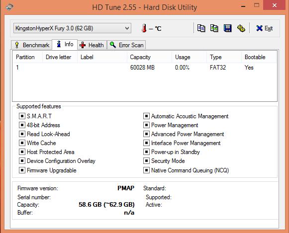 HD Tune Info-USB Kingston HyperX Fury 64GB