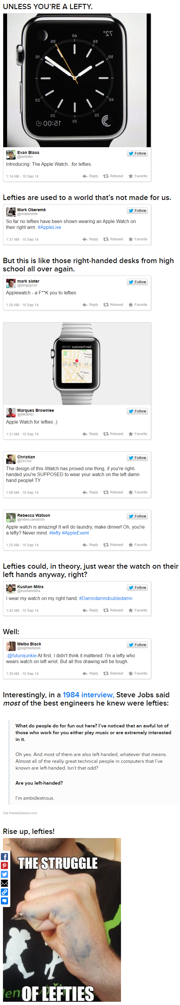 Lefties Are Not Happy About The Apple Watch