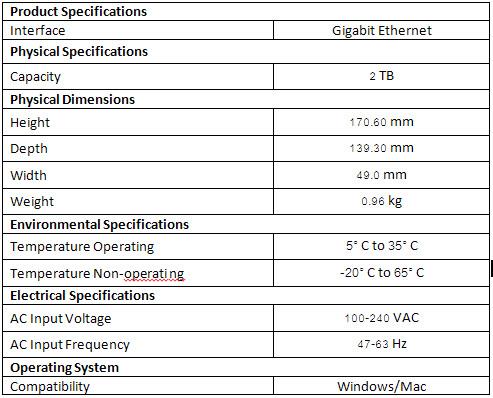 WD MyCloud  2TB-spec
