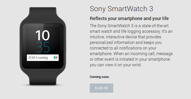 Sony Smartwatch 3 Google Play Store 600