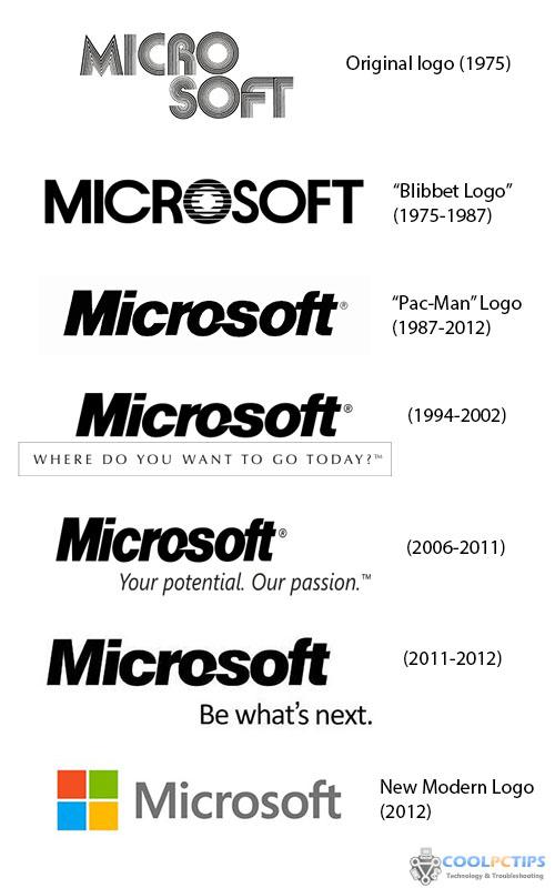 Microsoft Logo Change Timeline 600
