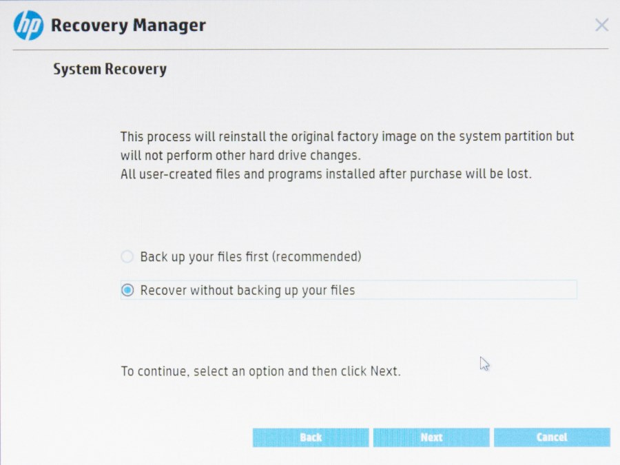 HP Recovery Manager-7