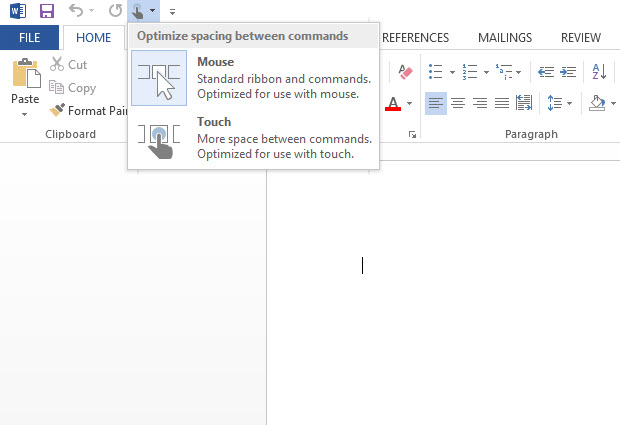 MS Office Touch mode-2