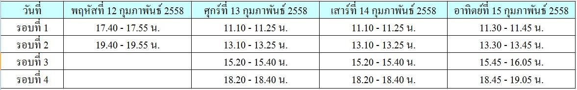 ตารางเวลา TEM1 2015