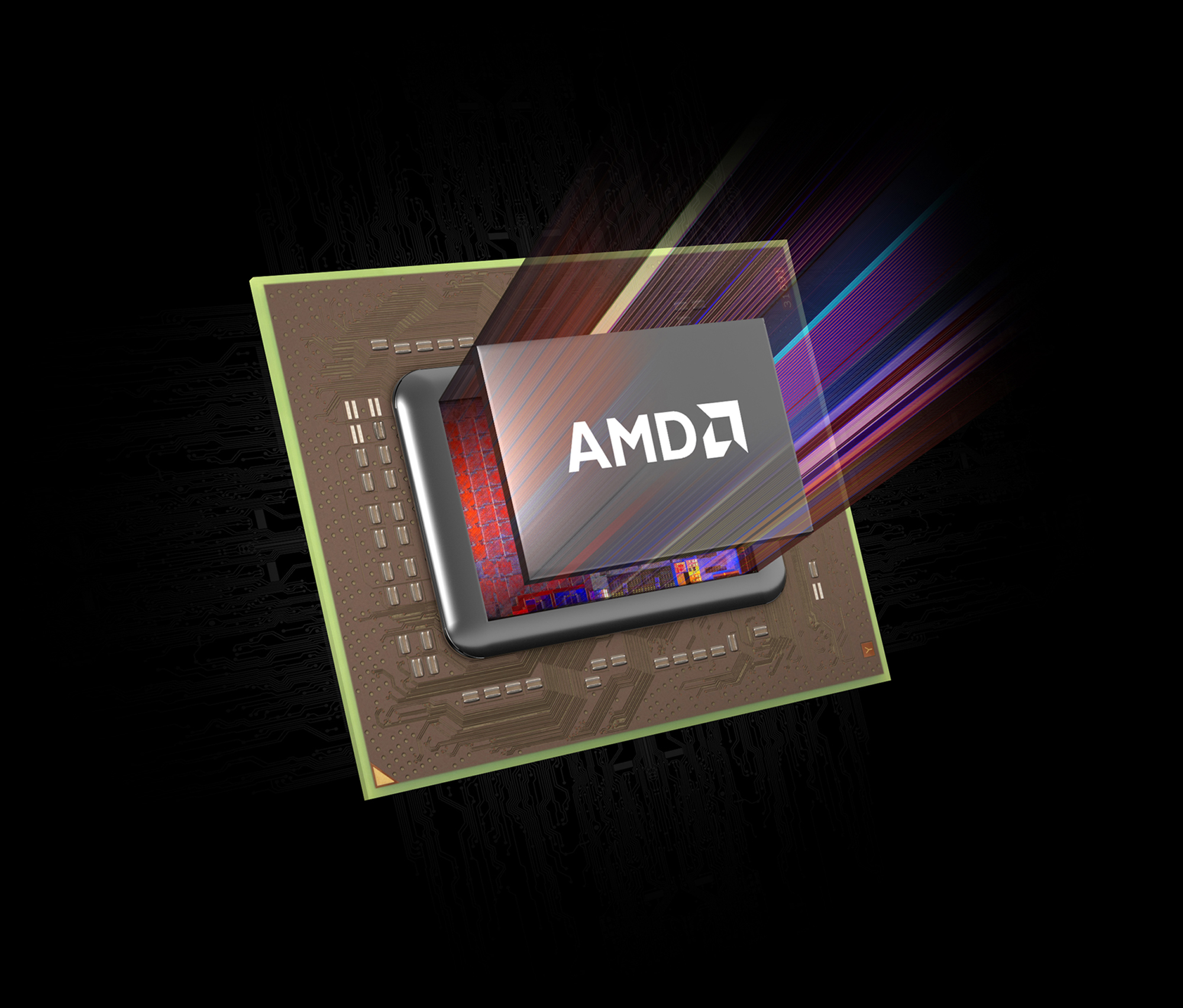 AMD0188 Carrizo chip with AMD logo cover + angled