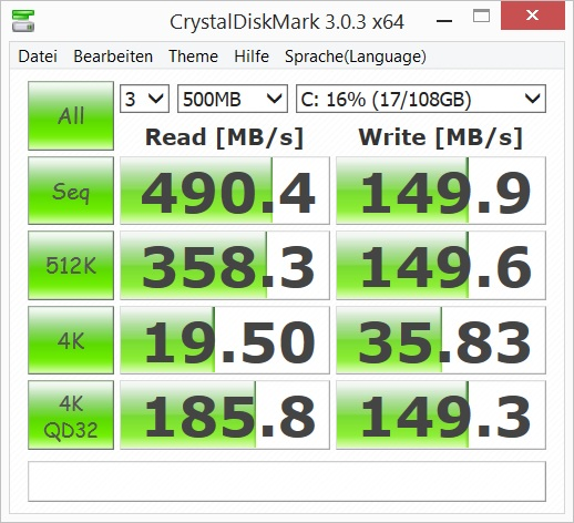 Acer Aspire Switch 12 diskmark 600