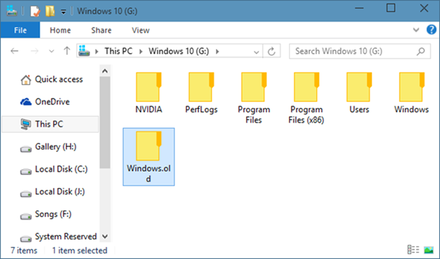 Delete Windows Old Folder 0