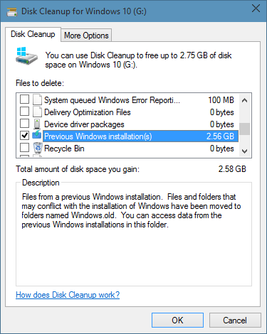 Delete Windows old folder-4
