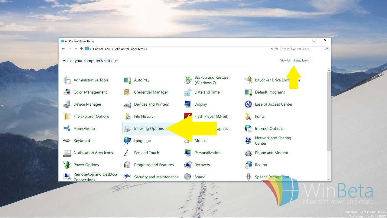 Windows indexing options (2)