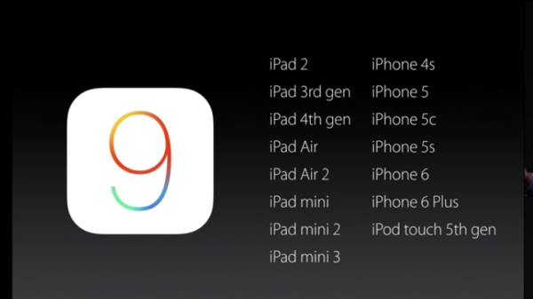 iOS9 update list 600
