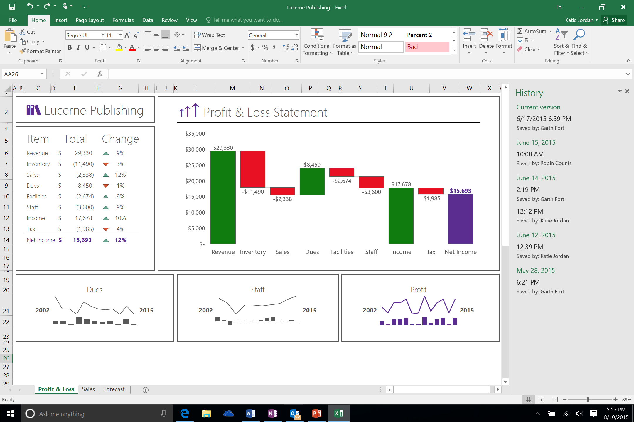 Version history improvements in Excel 2016