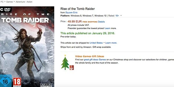 Rise of the Tomb Raider  Amazon fr  Video games