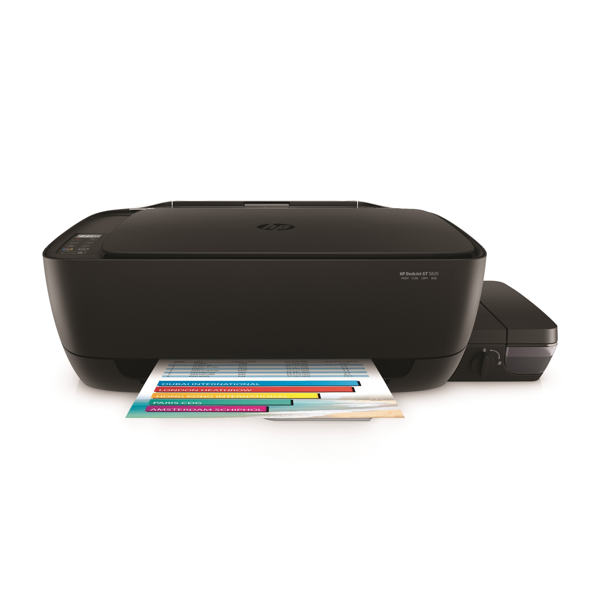 HP DeskJet GT 5820 All-in-One Printer WL, Center, Front, with output