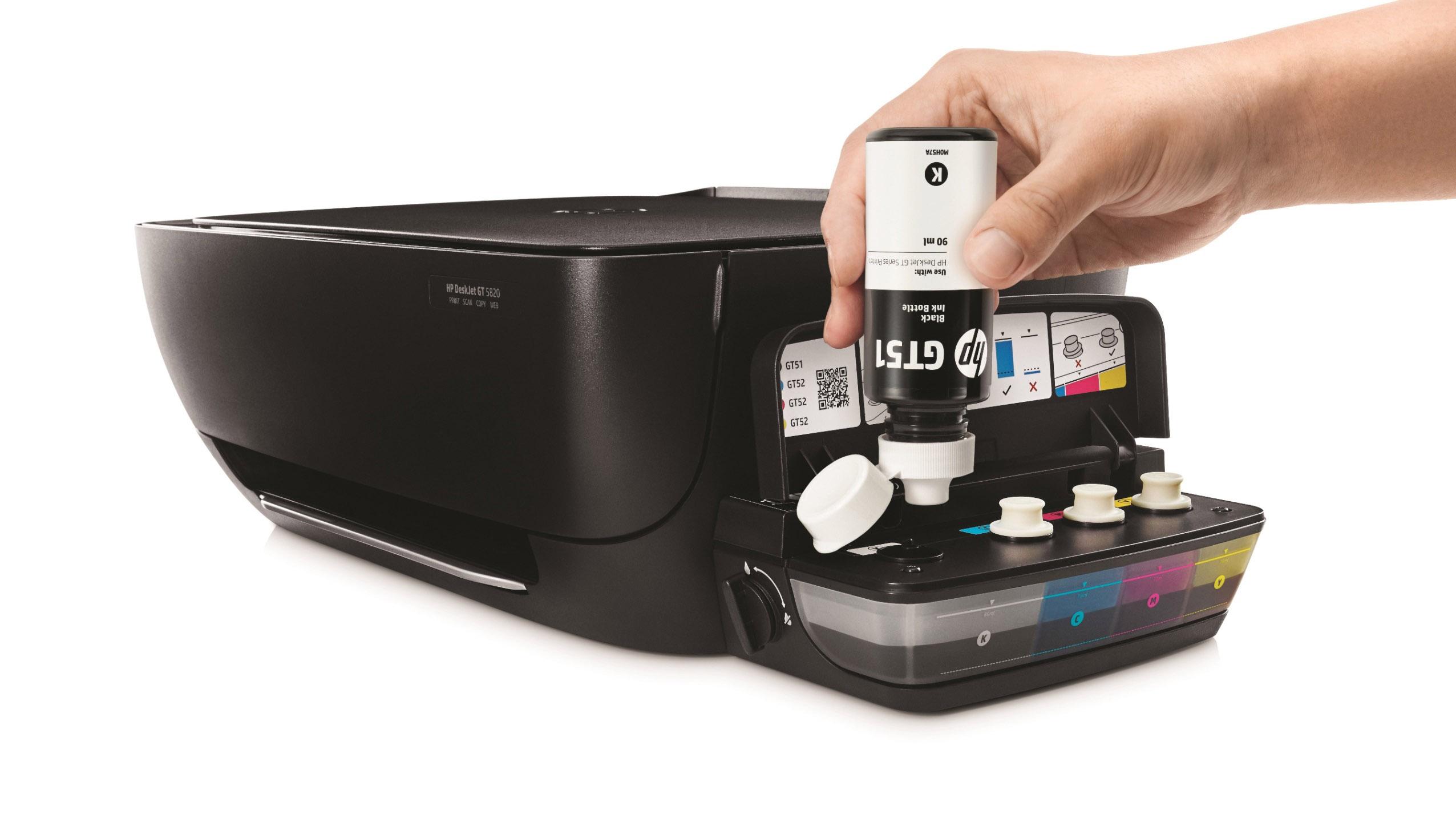 HP DeskJet GT Series Ink Bottles (Black), In use refilling printer