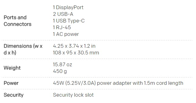 HP Elite x3 dock 600 spec