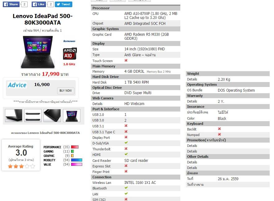 Lenovo IdeaPad 500-80K3000ATA