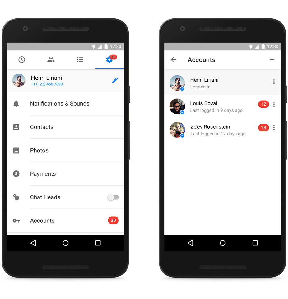 facebook Messenger android support multiple account 600