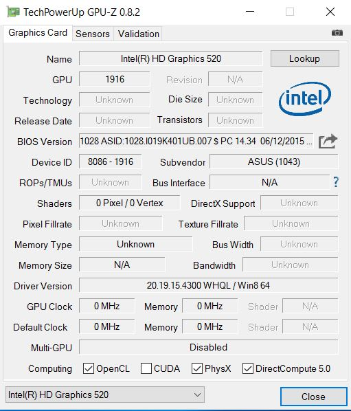 Intel HD Graphic 520