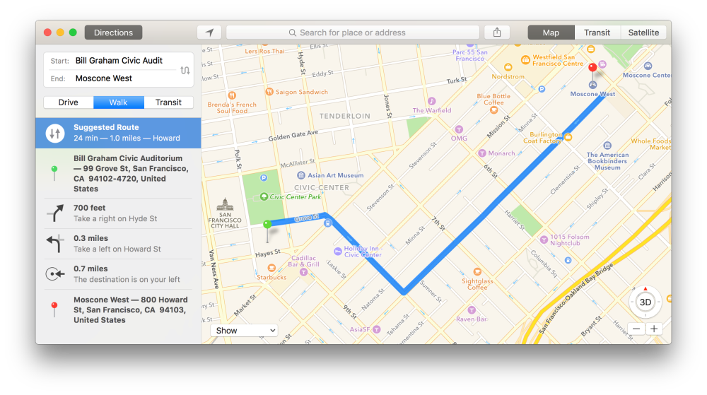 map show distance from Moscone west to Bill Graham Auditorium 600