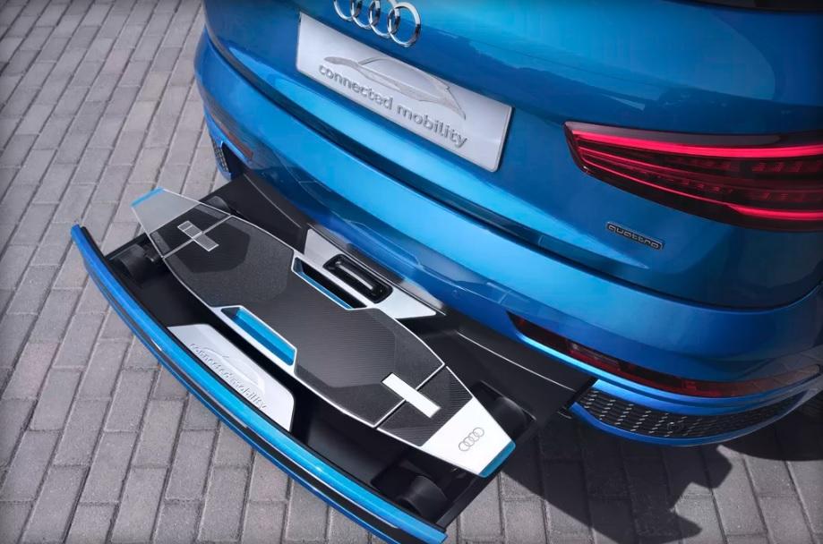Audi has electric longboard hidden in cars bumper 600 01
