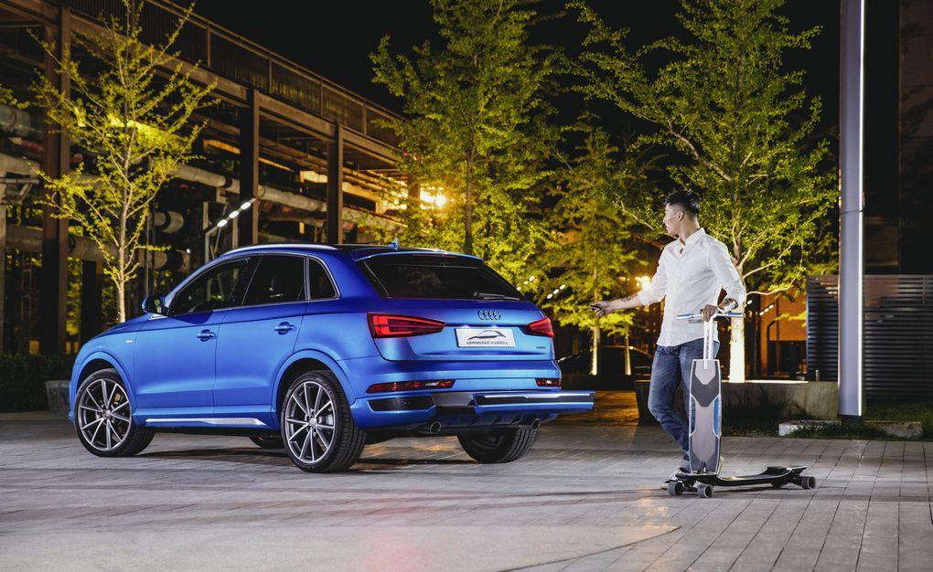 Audi has electric longboard hidden in cars bumper 600 03