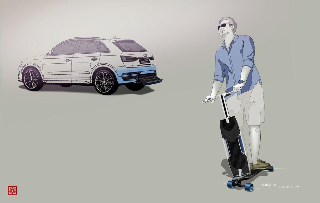Audi has electric longboard hidden in cars bumper 600 08