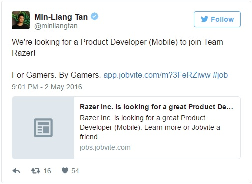 tweet razer ask for job about smartphone 600