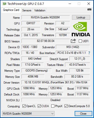GPU-Quadro M2000M