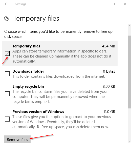 delete temporary files Windows 10 safety 6